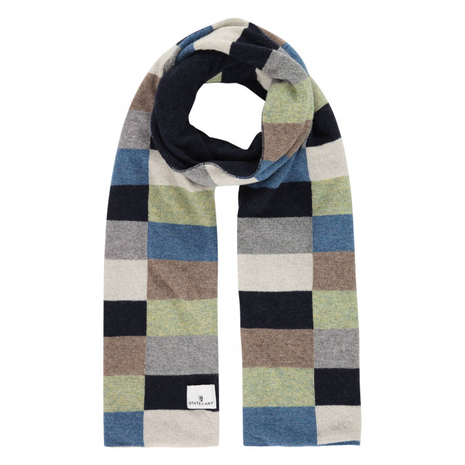 Lambswool-blend-scarf-with-logo-patch---midnight/grey-blue