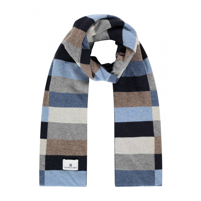 Lambswool-blend-scarf-with-logo-patch---midnight/cobalt
