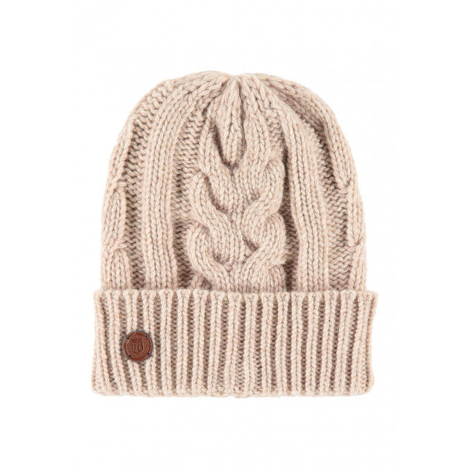 Lambswool-blend-cable-knit-hat---cream-plain