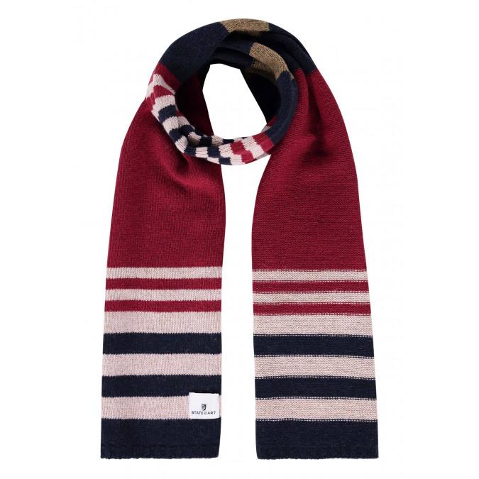 Lambswool-striped-scarf---brick/midnight