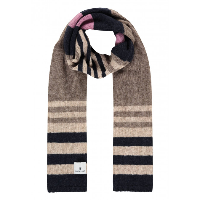Lambswool-striped-scarf---sepia/midnight