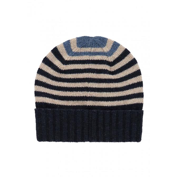 Striped-lambswool-hat---dark-blue/kit