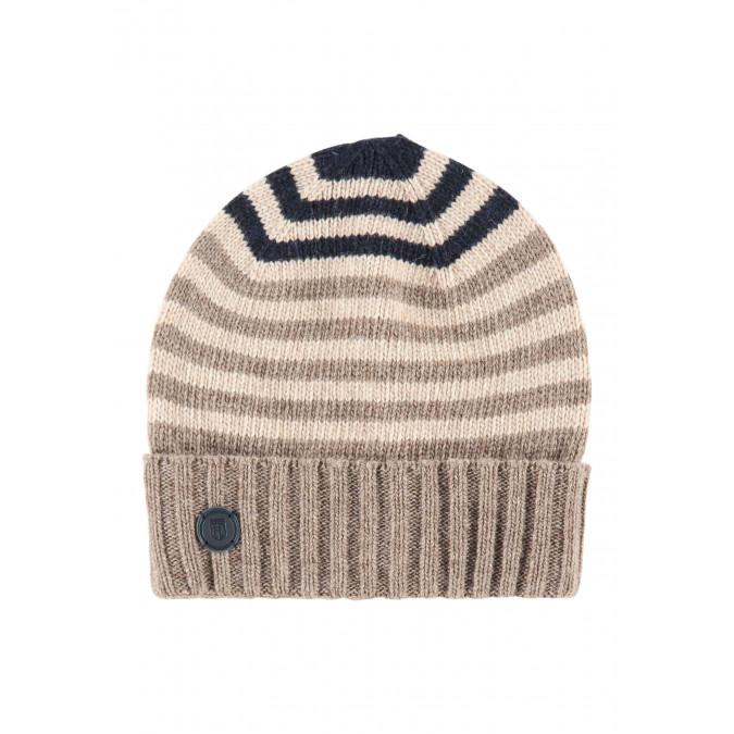 Striped-lambswool-hat---sepia/cream