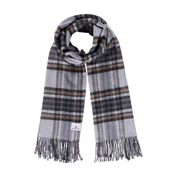 Scarf-with-chequered-pattern-made-of-acrylic---cream/charcoal