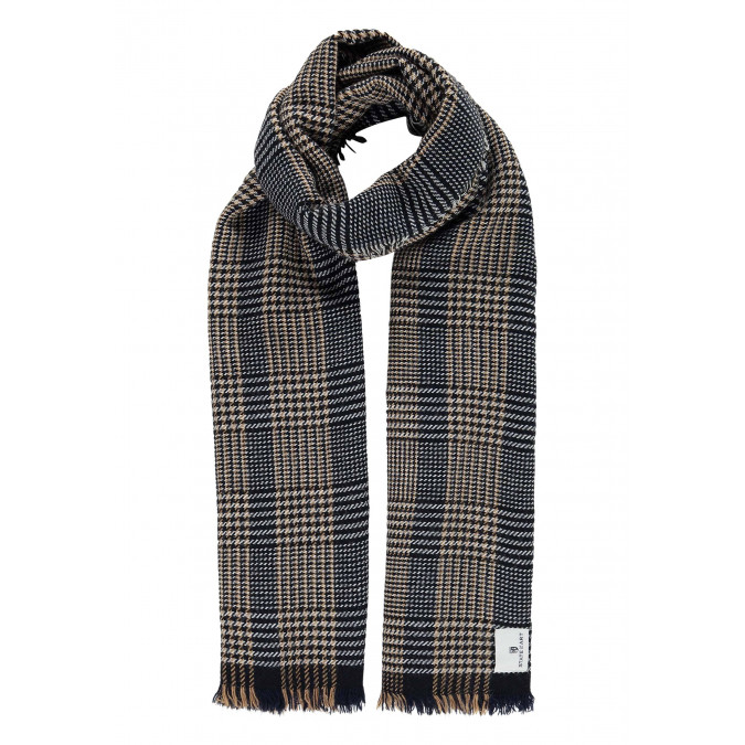 Scarf-with-checked-pattern-and-tassels---dark-blue/kit