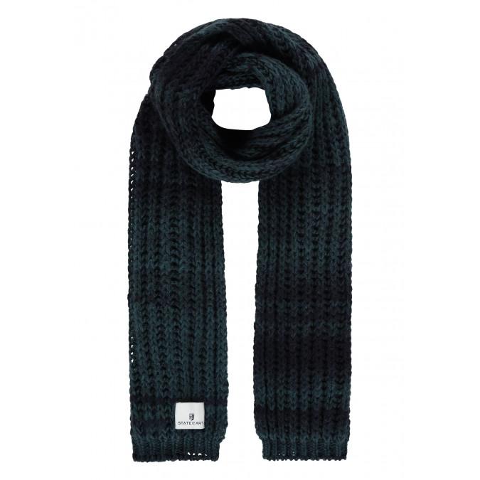 Striped-acrylic-blend-scarf---midnight/grey-blue