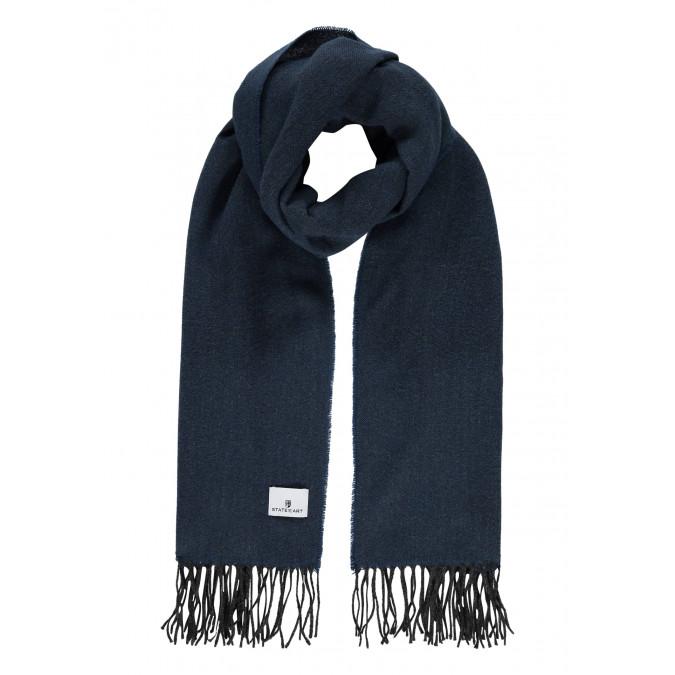 Effen-sjaal-met-lange-franjes---grijsblauw/donkerantraciet