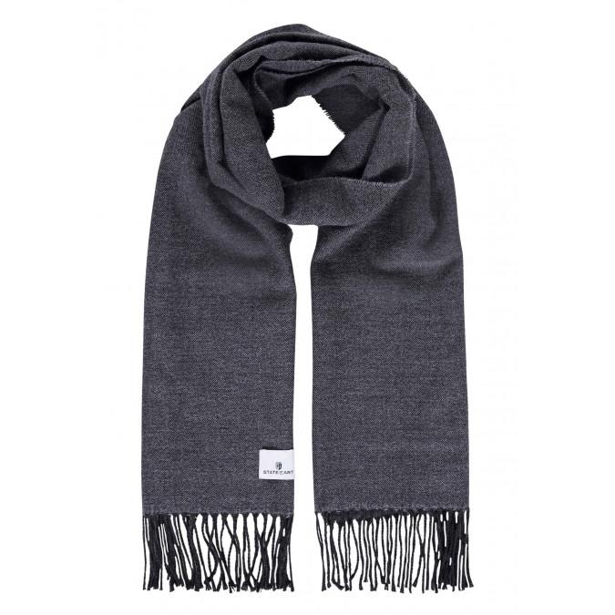 Plain-scarf-with-long-tassels---silvergrey/dark-anthracit