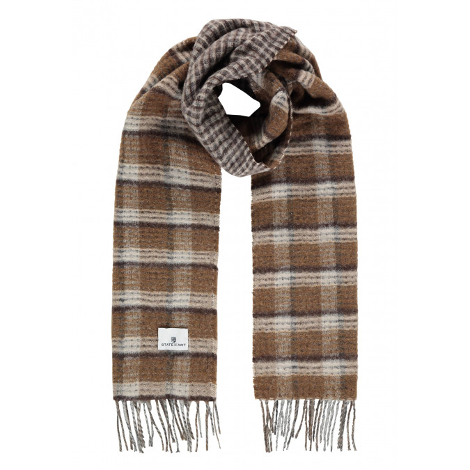 Scarf-with-checked-pattern-and-logo-patch---cream/sepia