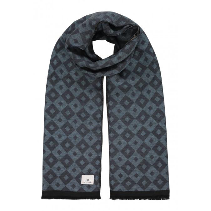 Bedrukte-sjaal-met-korte-franjes---grijsblauw/donkerblauw