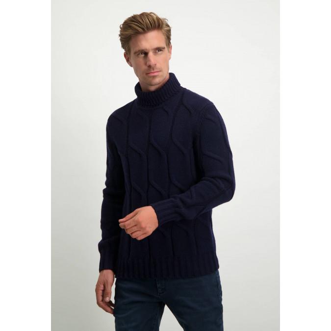 Modern-Classics-cable-knit-turtle-neck---dark-blue-plain