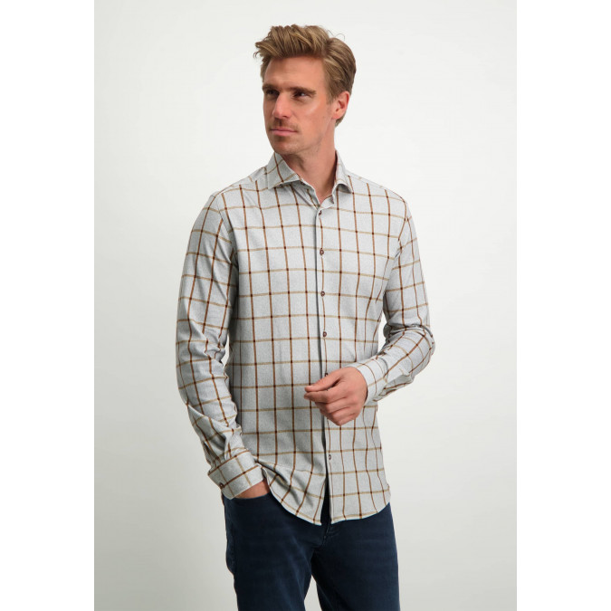 Modern-Classics-shirt-made-of-organic-cotton---silver-grey/cognac