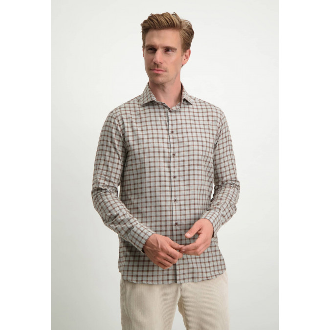 Modern-Classics-shirt-with-chequered-design---silver-grey/cognac