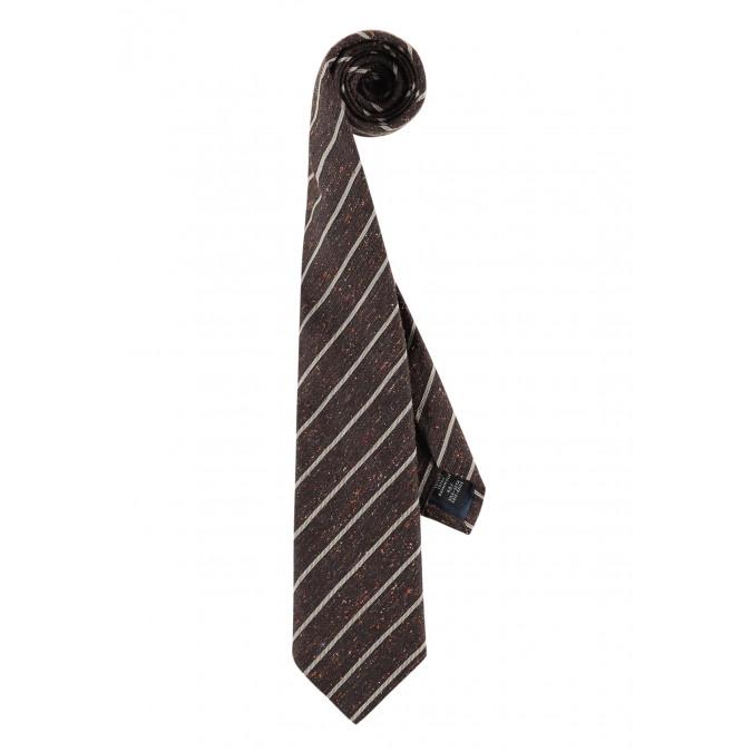 Modern-Classics-gestreepte-stropdas---donkerbruin/kit