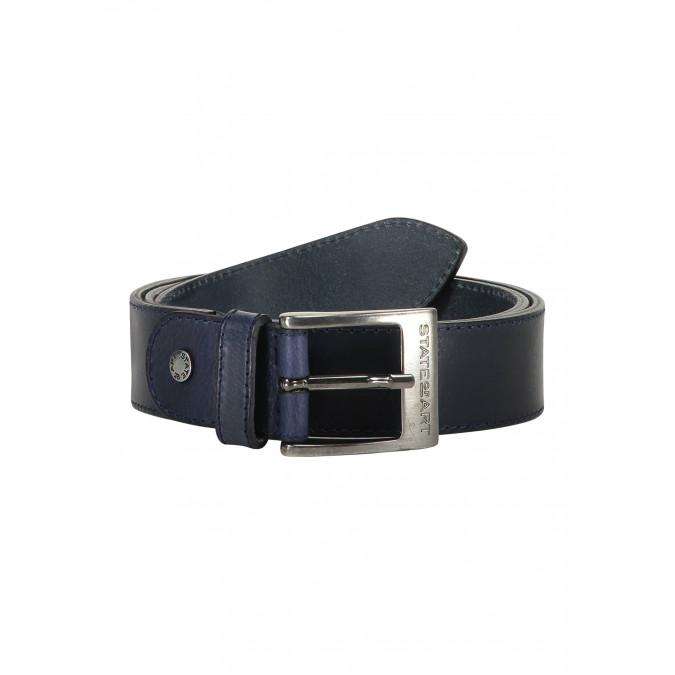 Belt-of-buffalo-leather---dark-blue-plain
