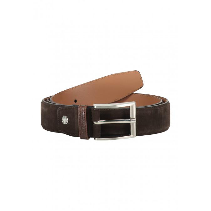 Suede-belt-completely-handmade---dark-brown-plain