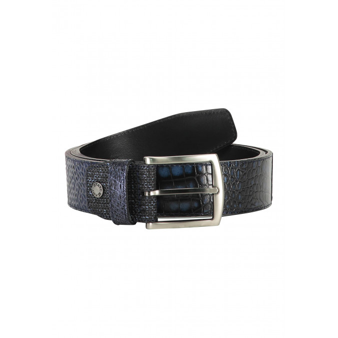 Belt-made-of-exotic-leather-pieces---dark-blue-plain
