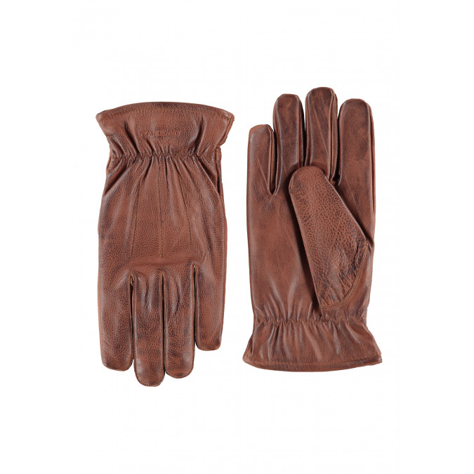 Gloves-made-of-leather---brown-plain