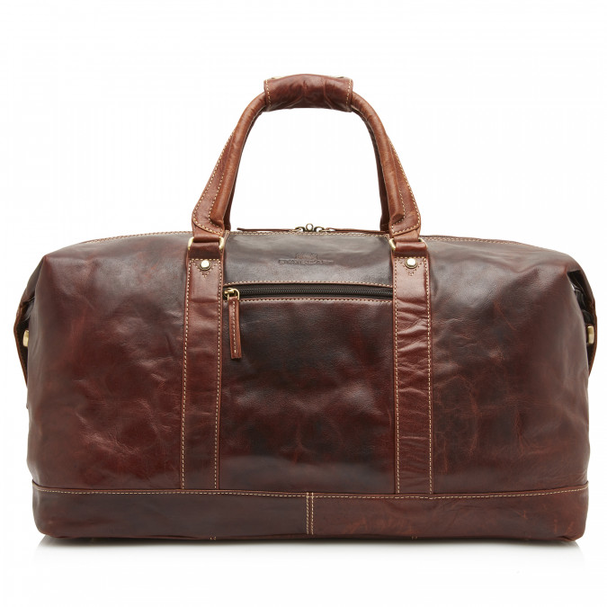 Travel-Bag-of-Buffalo-Leather---dark-brown-plain