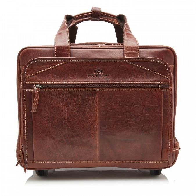 Business-trolley-en-cuir-de-buffle---brun-foncé-uni