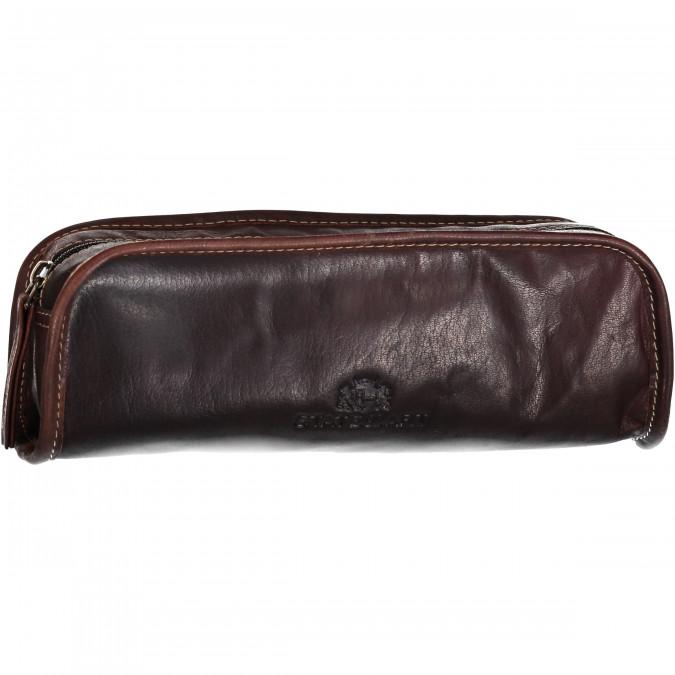 Pen-Case-with-Zipper-Closure---dark-brown-plain
