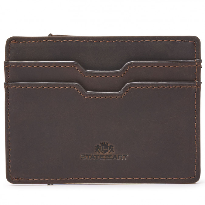 Card-holder-with-pull-tab---dark-brown-plain