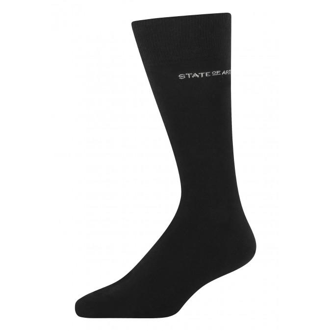 Socks-made-of-blended-cotton---black-plain