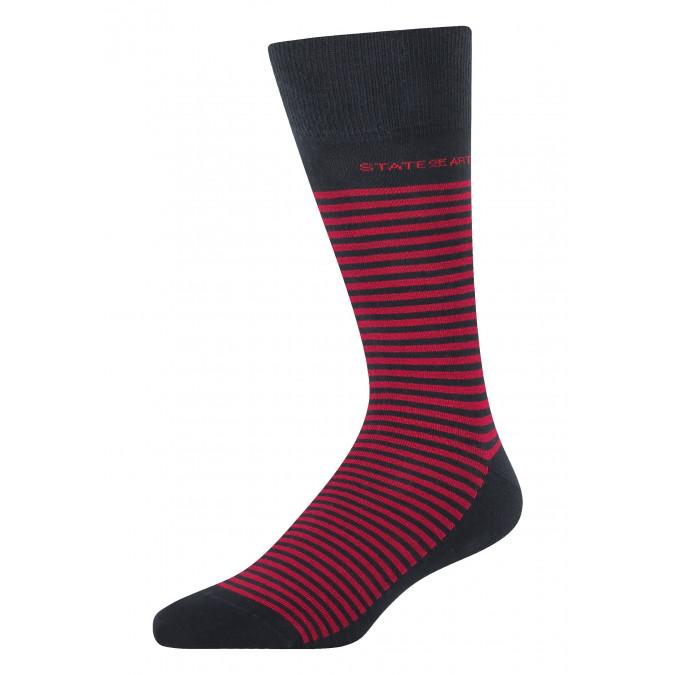 Striped-socks-made-of-blended-cotton---dark-blue/red