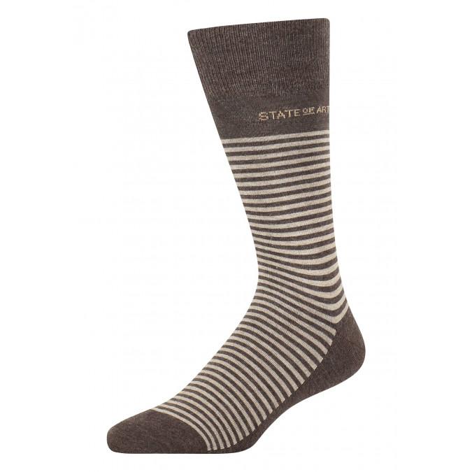 Striped-socks-made-of-blended-cotton---dark-brown/cream