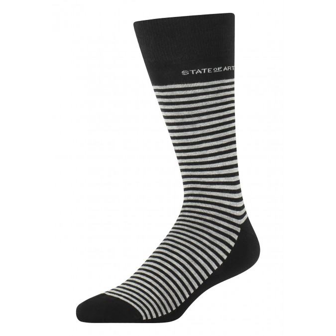 Striped-socks-made-of-blended-cotton---black/silver-grey