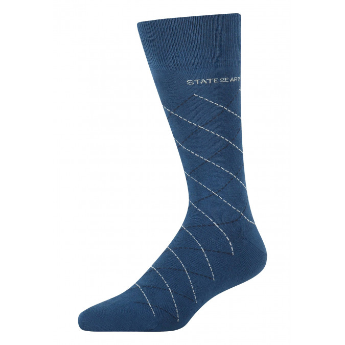 Socks-with-a-checked-pattern---cobalt/mid-blue