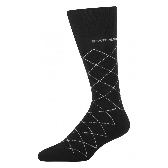 Socks-with-a-checked-pattern---black/silver-grey