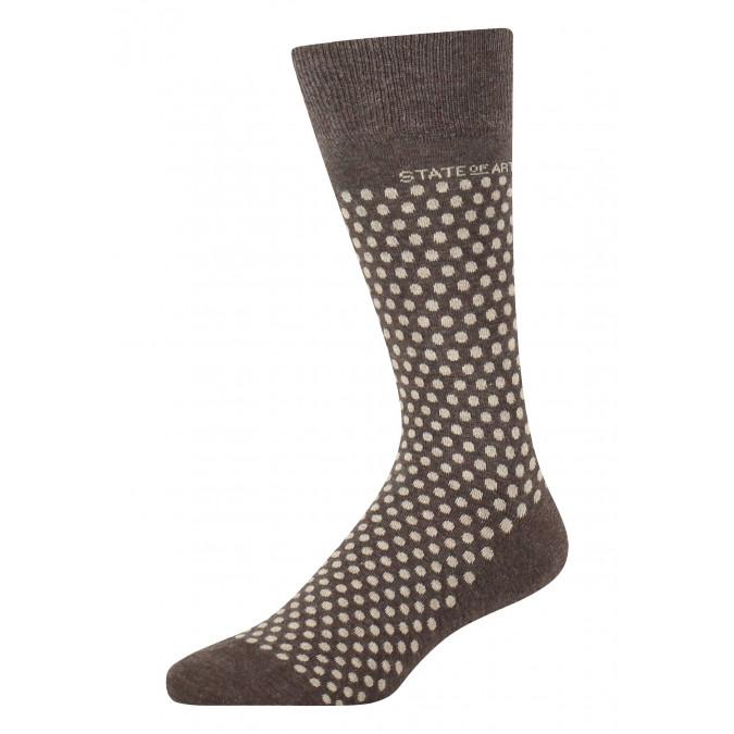 Socks-jacquard-with-a-dot-print---dark-brown/cream