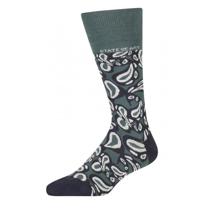 Sokken-met-een-paislydessin---donkergroen/donkerblauw