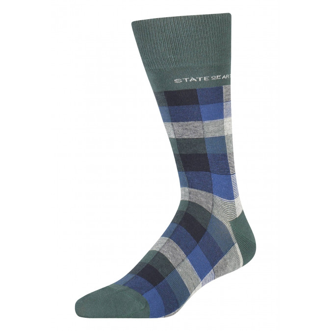 Socks-with-a-checked-pattern---dark-green/midnight