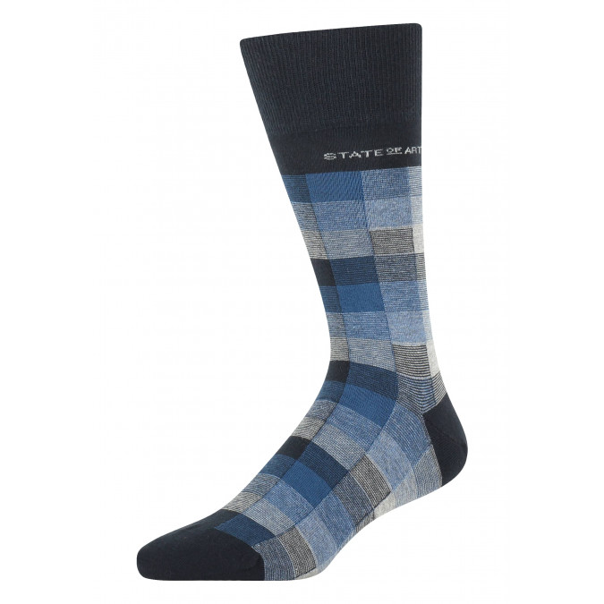 Socks-with-a-checked-pattern---midnight/cobalt